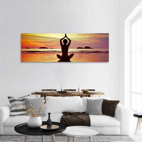 Yoga On The Beach Panoramic Canvas Wall Art 3 Piece / Small Tiaracle