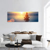 Yoga Woman At Sunset Panoramic Canvas Wall Art 1 Piece / Small Tiaracle