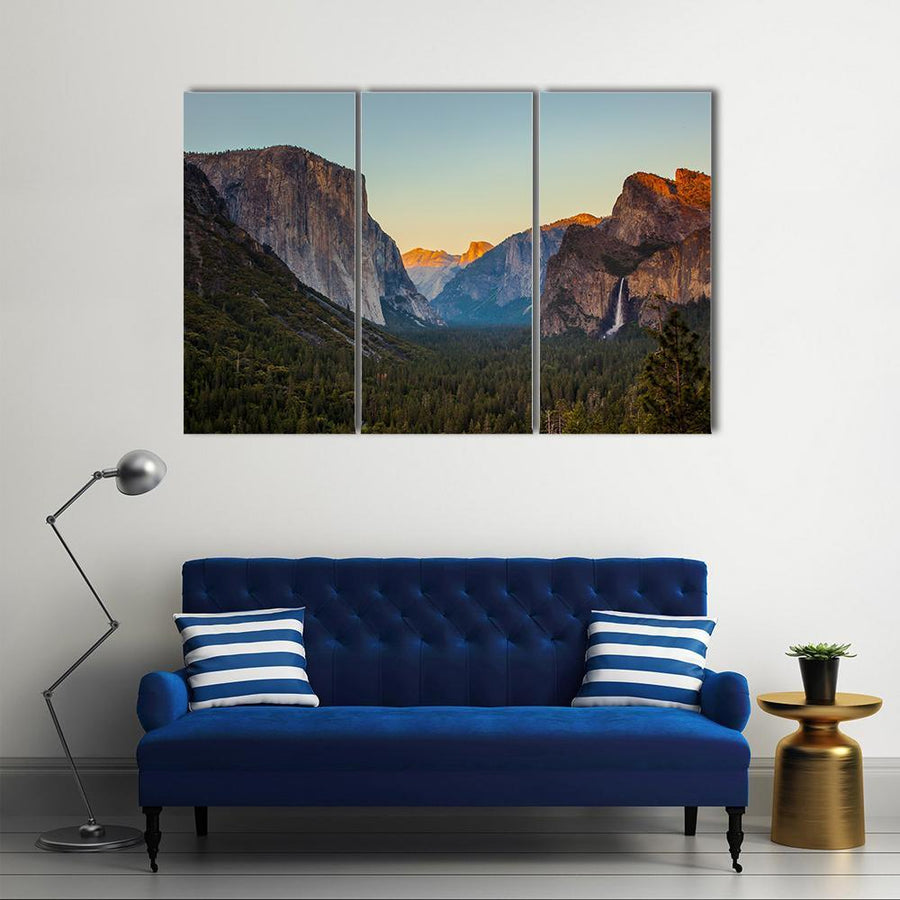 Yosemite Valley From Tunnel View At Sunset Canvas Panel Painting Tiaracle
