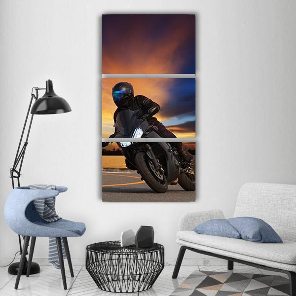 Young Man Riding Big Bike Vertical Canvas Wall Art 1 Vertical / Small / Gallery Wrap Tiaracle