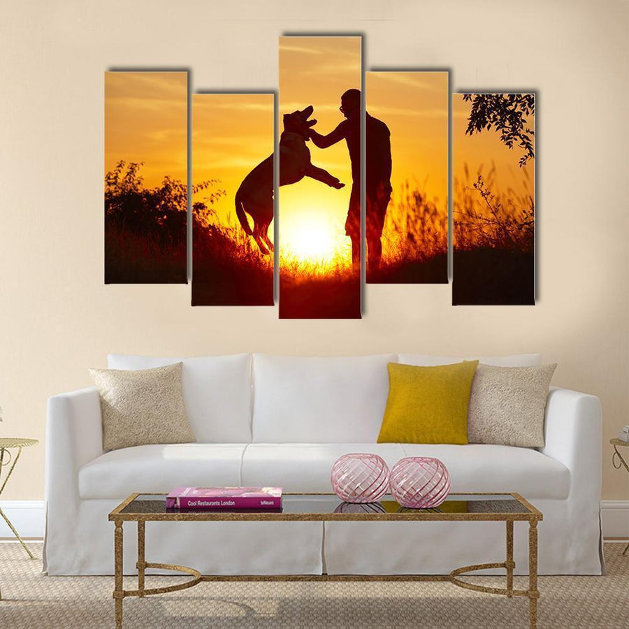 Young Man with His Yellow Labrador Retriever In Nature -Back Lit Canvas Panel Painting Tiaracle
