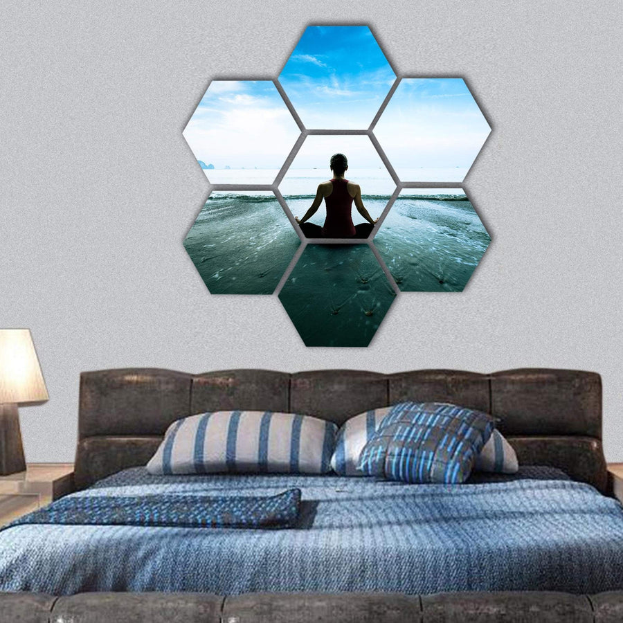 Young Woman Practicing Yoga On The Beach Hexagonal Canvas Wall Art 1 Hexa / Small / Gallery Wrap Tiaracle