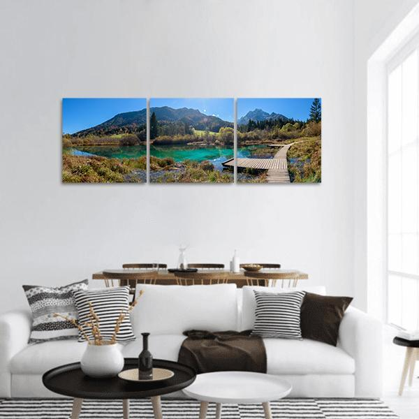 Zelenci Lake In Slovenia Panoramic Canvas Wall Art 1 Piece / Small Tiaracle