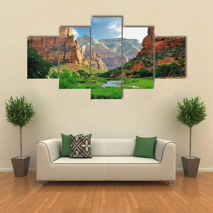Zion Canyon With The Virgin River Multi Panel Canvas Wall Art 3 Pieces / Medium / Canvas Tiaracle