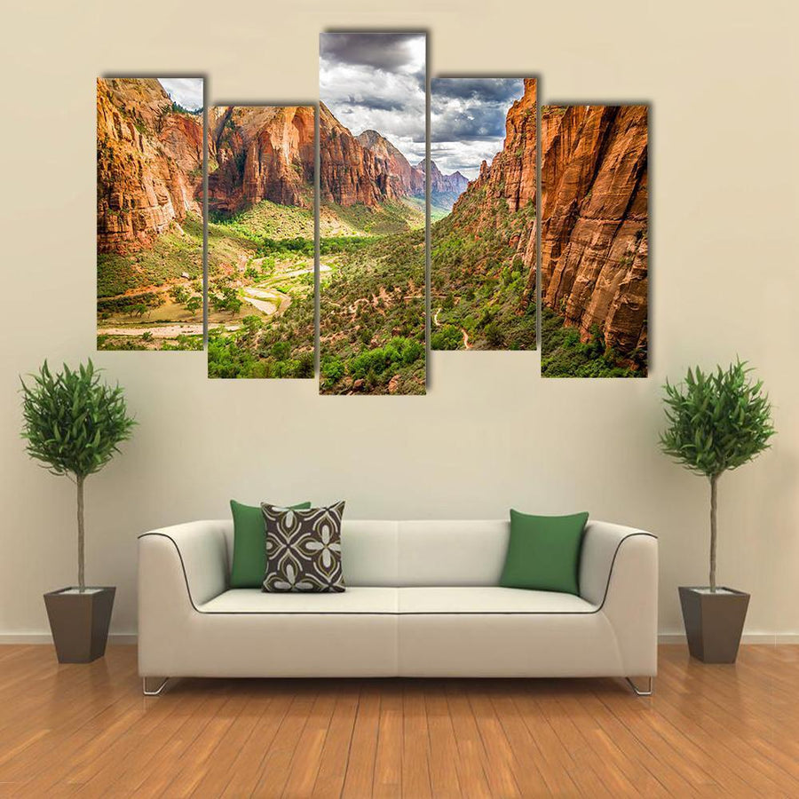 Colorful Landscape From Zion National Park Multi Panel Canvas Wall Art 4 Pieces / Medium / Canvas Tiaracle