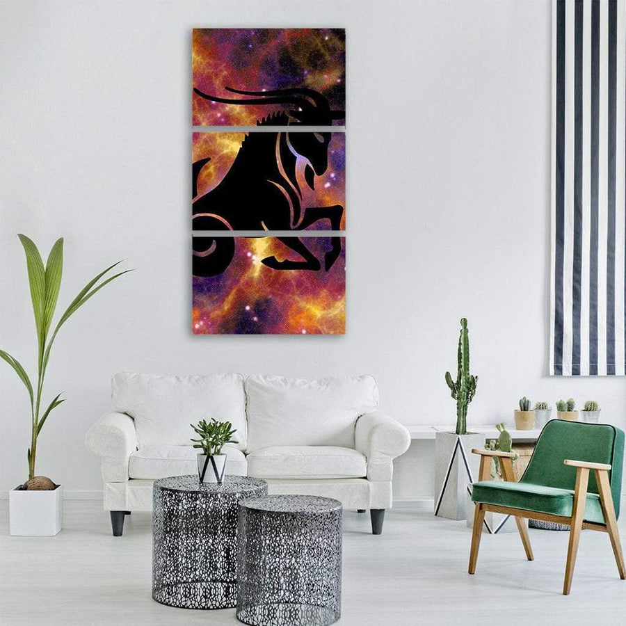 Zodiac Symbol Of Capricorn Vertical Canvas Wall Art 1 Vertical / Small / Gallery Wrap Tiaracle