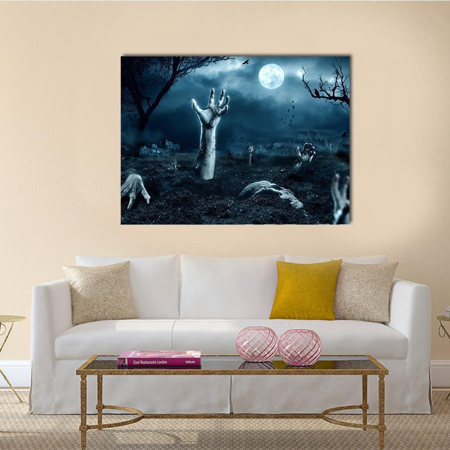 Zombie Hand Out Of His Grave Multi Panel Canvas Wall Art-4 Square-Small-Gallery Wrap-Tiaracle