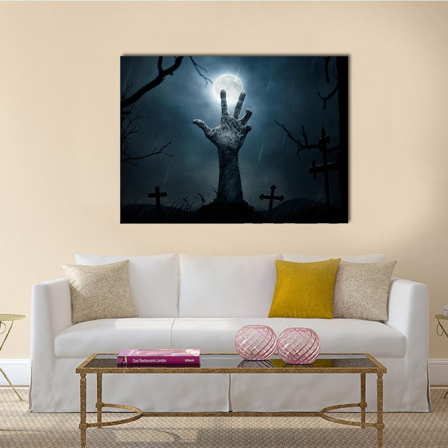 Zombie Hand Rising Multi Panel Canvas Wall Art-4 Square-Small-Gallery Wrap-Tiaracle