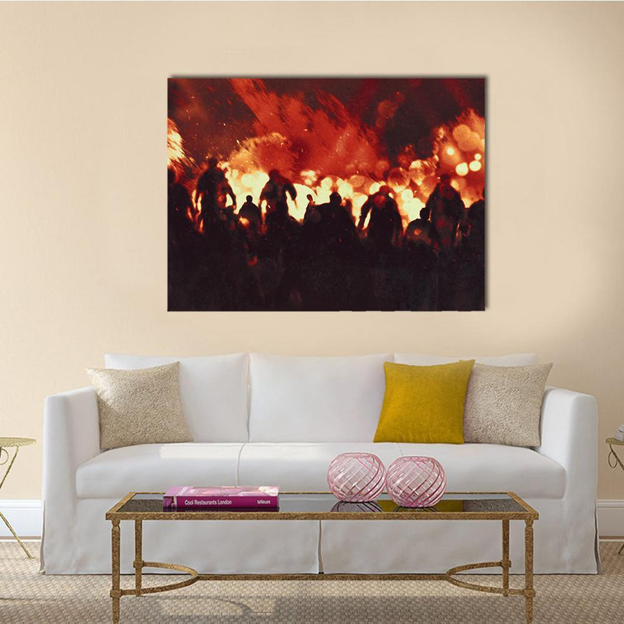 Zombie Walking In Fire Flames Canvas Wall Art-4 Horizontal-Small-Gallery Wrap-Tiaracle