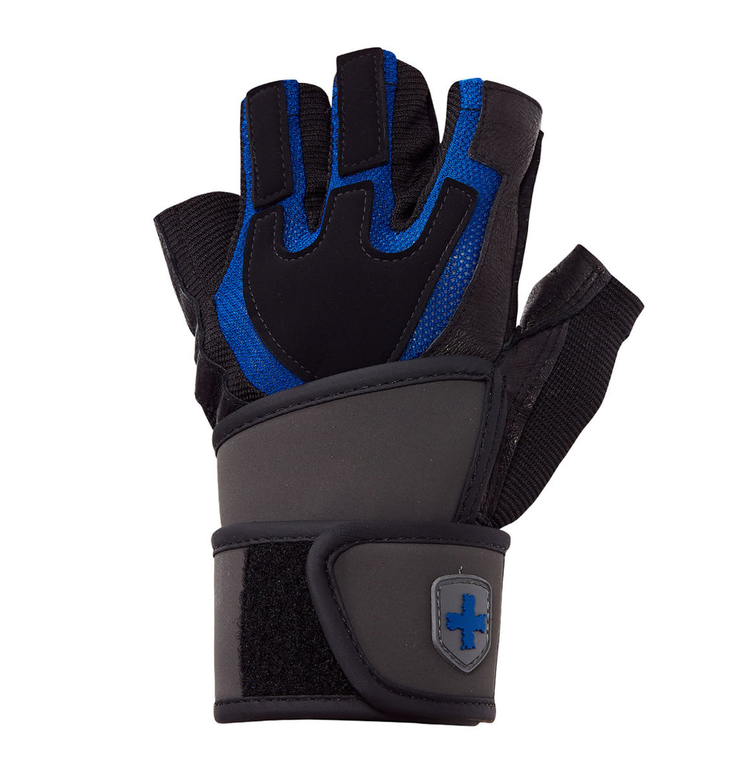 01250 Harbinger Mens Training Grip Wristwrap Gym Gloves Left Top