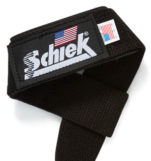 1000BPS Schiek Basic Padded Lifting Straps Logo Close Up