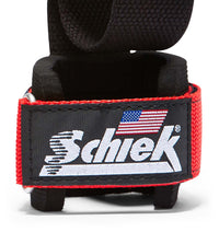 1000PLS Schiek Power Lifting Straps Red Wrist Support Close Up