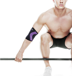102330-01 - Rehband Rx Elbow Sleeve Black/Purple - 5mm/3mm - Lifestyle Shot