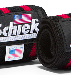 1112B Schiek Wrist Wraps Straps Black 12 inch Pair Close Up