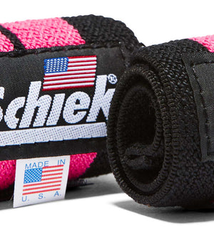 1112P Schiek Wrist Wraps Straps Pink 12 inch Pair Close Up
