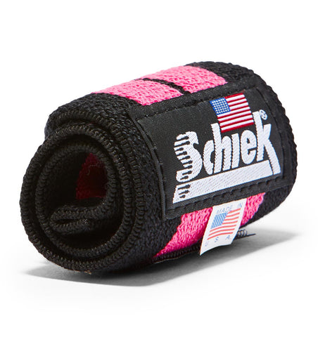 1112P Schiek Wrist Wraps Straps Pink 12 inch Single Close Up