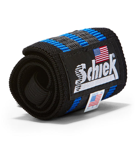 1112R Schiek Wrist Wraps Straps Blue 12 inch Single Close Up