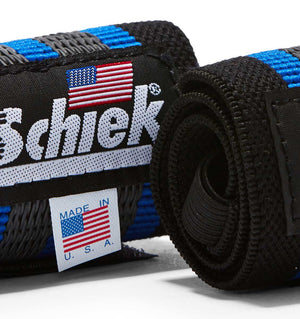1118R Schiek Wrist Wraps Straps Blue 18 inch Pair Close Up