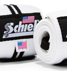 1124W Schiek Wrist Wraps Straps White 24 inch Pair Close Up