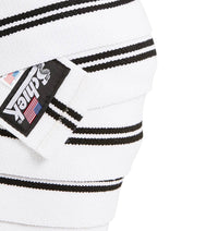 1178KWW Schiek Knee Wraps White Side Close Up