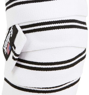 1178KWW-V Schiek Knee Wraps White With Velcro Closure Front Close Up