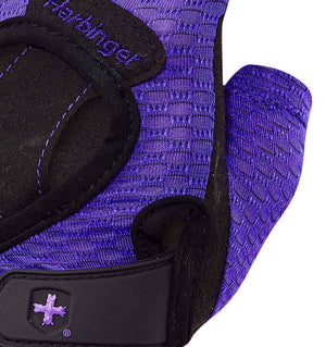 139 Harbinger Womens FlexFit Wash&Dry AntiMicrobial Glove Purple Top Close Up