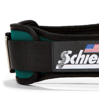 2004 Schiek Contour Weight Lifting Belt Green Side Close Up
