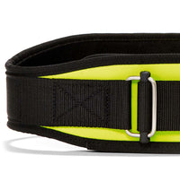 2004 Schiek Contour Weight Lifting Belt Yellow Front Close Up