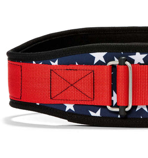 2004 Stars n Stripes Schiek Contour Weight Lifting Belt Stars and Stripes Front Close Up