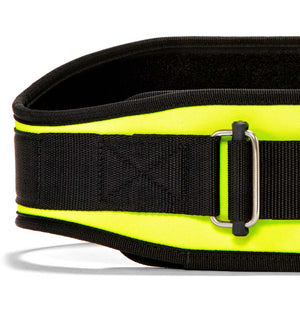 2006 Schiek Contour Weight Lifting Belt Neon Yellow Front Close Up