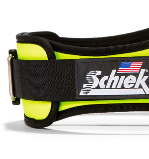2006 Schiek Contour Weight Lifting Belt Neon Yellow Side Close Up