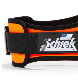 2006 Schiek Contour Weight Lifting Belt Orange Side Close Up