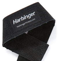 20800 Harbinger Leather Lifting Straps Logo Close Up