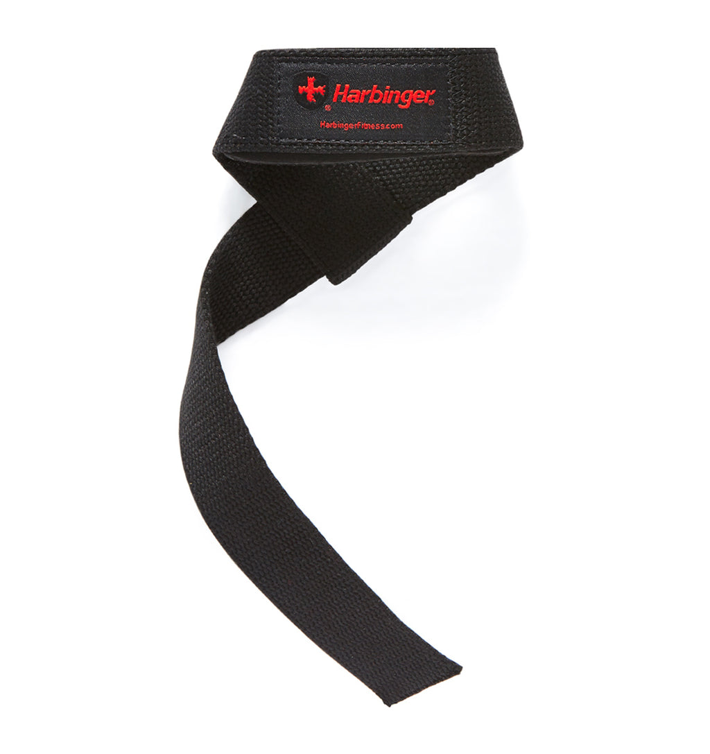 21300 Harbinger Padded Lifting Straps Black Front Single