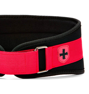 23200 Harbinger 5 inch Foam Core Womens Weight Lifting Belt Pink Front Close Up