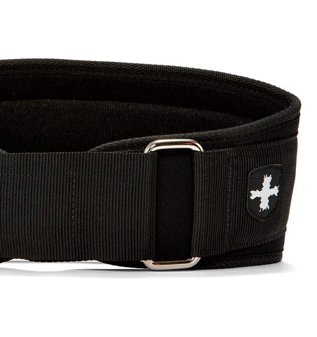 23300 Harbinger 5 inch Foam Core Mens Weight Lifting Belt Black Front Close Up