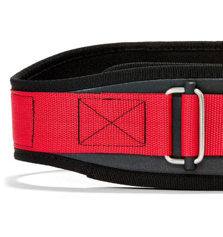 3004 Schiek Contour Power Weight Lifting Belt Black and Red Front Close Up