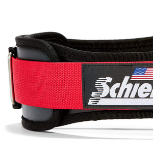 3004 Schiek Contour Power Weight Lifting Belt Black and Red Side Close Up