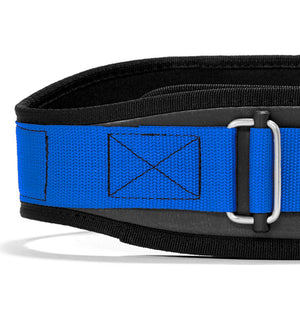 3004 Schiek Contour Power Weight Lifting Belt Blue Front Close Up