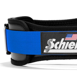 3004 Schiek Contour Power Weight Lifting Belt Blue Side Close Up