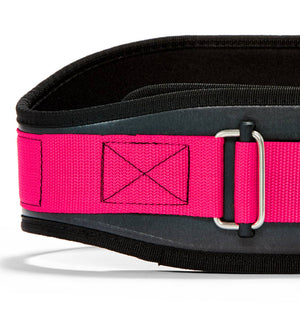 3006 Schiek Contour Weight Lifting Belt Pink Front Close Up