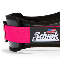 3006 Schiek Contour Weight Lifting Belt Pink Side Close Up