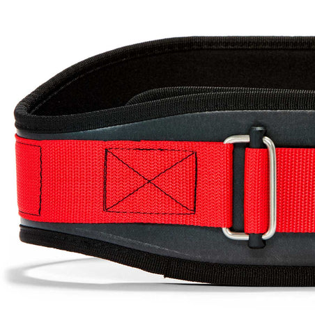 3006 Schiek Contour Weight Lifting Belt Black and Red Front Close Up