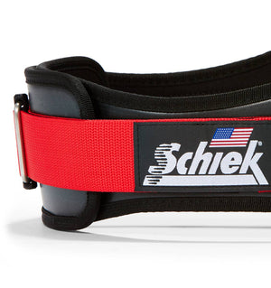 3006 Schiek Contour Weight Lifting Belt Black and Red Side Close Up