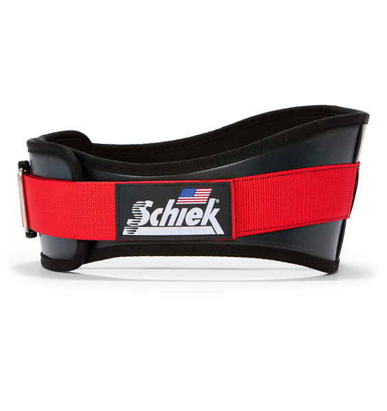 3006 Schiek Contour Weight Lifting Belt Black and Red Side