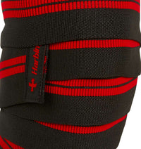 46300 Harbinger 78 inch Red Line Knee Wraps Front Close Up