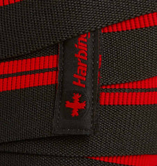 46300 Harbinger 78 inch Red Line Knee Wraps Side Extreme Close Up