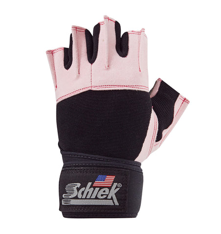 540PINK Schiek Lifting Gym Gloves with Wrist Wraps Pink Left Top