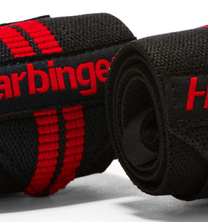 7044300 Harbinger Red Line Wrist Wraps Straps Pair Close Up