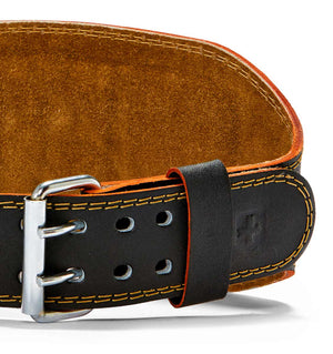H5083 Harbinger 6 inch Leather Weight Lifting Belt Front Close Up